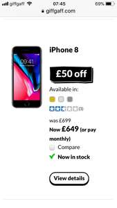 Unlocked IPhone 8 £50 off - £649 at Giffgaff until December 21st