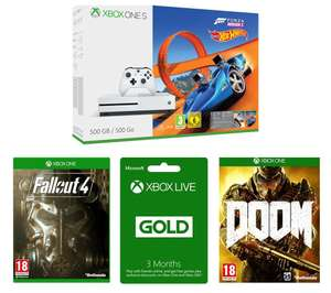 Xbox One S (500GB) with Forza Horizon 3 (inc Hot Wheels DLC), Fallout 4, Doom and 3 months Gold - £208.98 at Currys