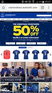 Everton FC 50% off online and in store for Xmas gifts for the whole family