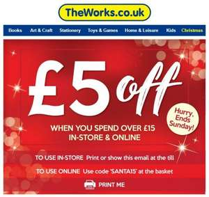 £5 off when you spend £15 or more, online or instore @ The Works