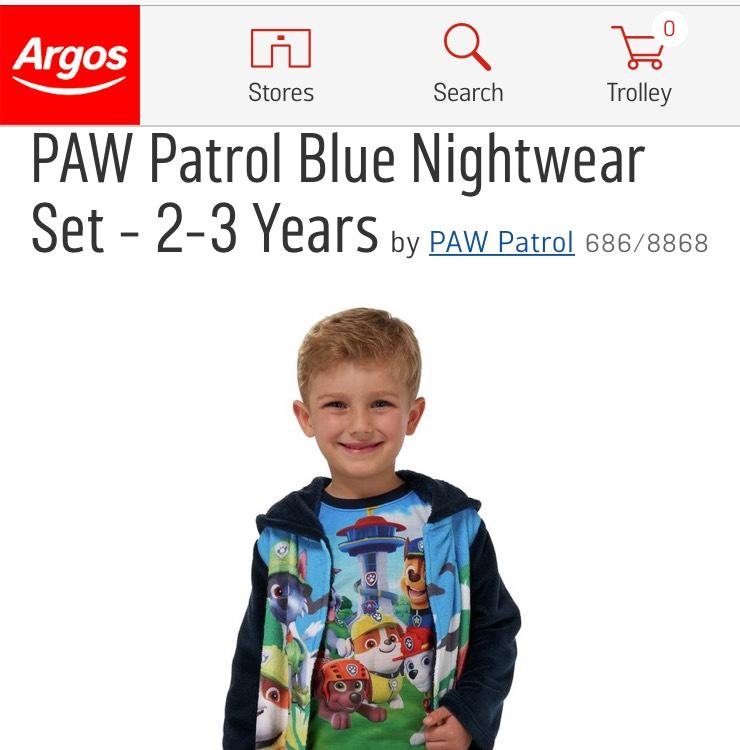 Great kids Paw Patrol pyjama sets at Argos - £13.49