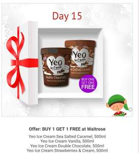 BOGOF on Yeo ice cream at Waitrose via Checkoutsmart app