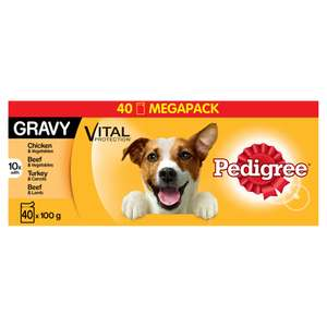 Pedigree Adult Dog Food Pouches in Gravy 40x100g £8 - Also Available are the 12 X 100g pouches for £2.75  @ Wilko