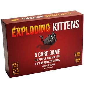 Exploding Kittens Board Game - John Lewis - £14.99 (+ £3.50 P&P or £2 C&C) and Tesco Direct - £14.99 Free C+C