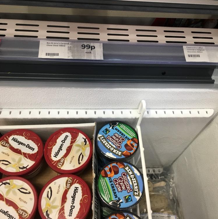 Ben & Jerry's caramel 500ml 99p Heron in store
