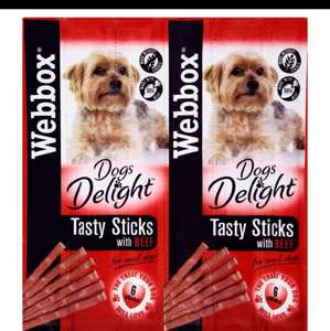 Webbox dog delights 6 beef sticks reduce to 20p in store b&m