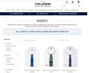 T.M. Lewin All Shirts and Ties at £19.95 [Online]