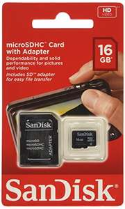 SanDisk SDSDQB-016G-B35 16 GB Class 2 MicroSD Card with MicroSD to SD Adapter - £6.50 Prime /. £10.49 non-Prime @ Amazon