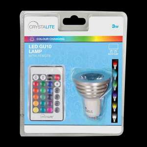 Crystalite LED GU10 Colour Changing Lamp, 3W, With Remote £5, In Store @ Poundland Instore