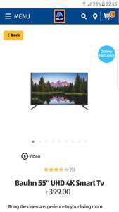 Aldi 55in  uhd 4k bauhn smart tv £399.00 @ Aldi