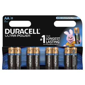 Duracell Ultra Power AAA or AA Batteries 8 Pack Half Price & free C+C at Wilko for £4