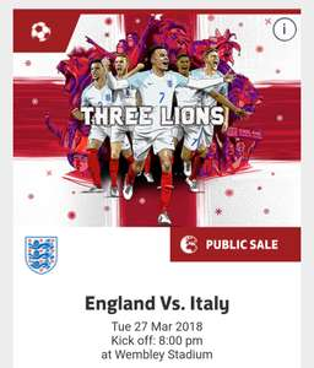 England V Italy - Wembley. Kids £10 / Adults £20 @ The FA.com