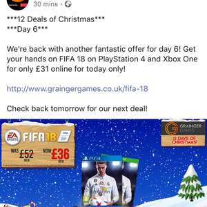 Fifa 18 PS4 Xbox one online £30.99 @ Grainger games
