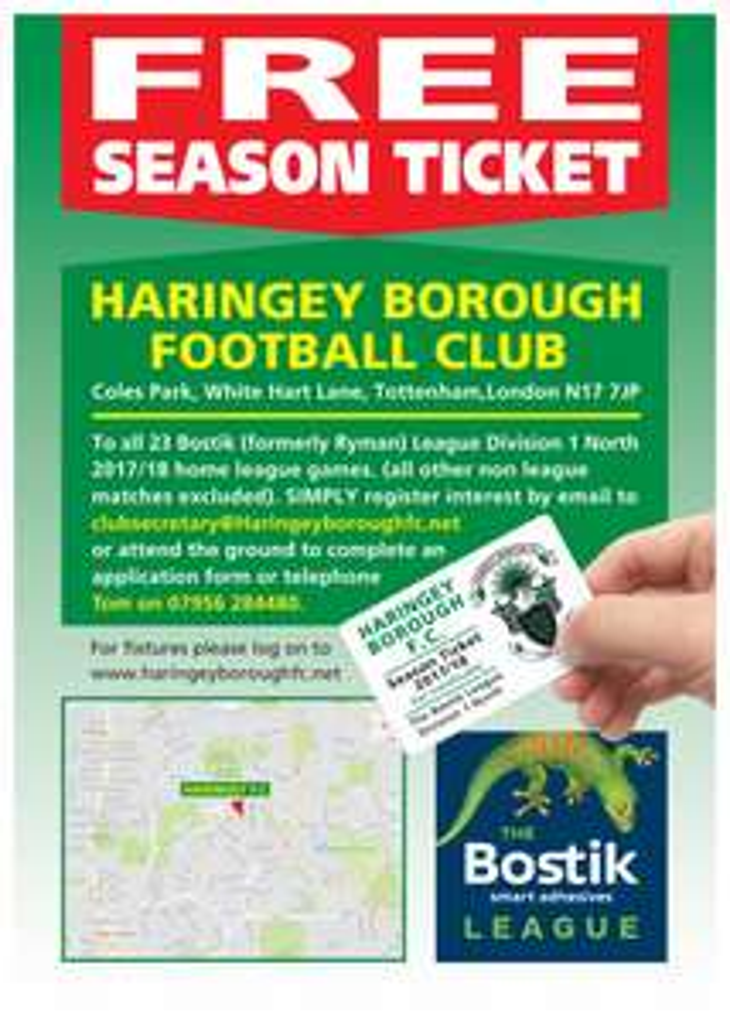 free season tickets for haringey fc