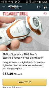 Today on the Amazon Treasure Truck: Philips Star Wars BB-8 shaver £32.49 FIFTY PERCENT OFF + FREE LIGHTSABER.