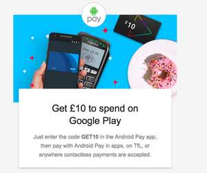 Get £10 Google Play credit with code and Android Pay