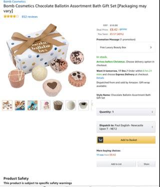Bomb cosmetics chocolate gift set £8.42 was £13.99 / £12.41 non prime @ Amazon