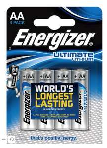 Energizer Ultimate Lithium AA batteries £5 / pack of 4 @ Boots