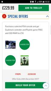 PS4 500GB STAR Wars console + Dualshock controller + Playlink game + COD MWR £239.99 @ Argos