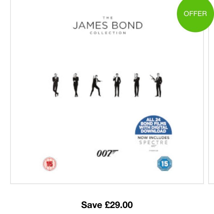 James Bond 24 Film collection BluRay £39.59 At Zavvi