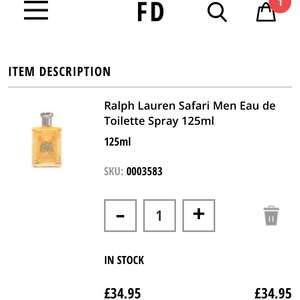 Ralph Lauren Safari Men's EDT 125ml £34.95 plus free express del @ Fragrance direct
