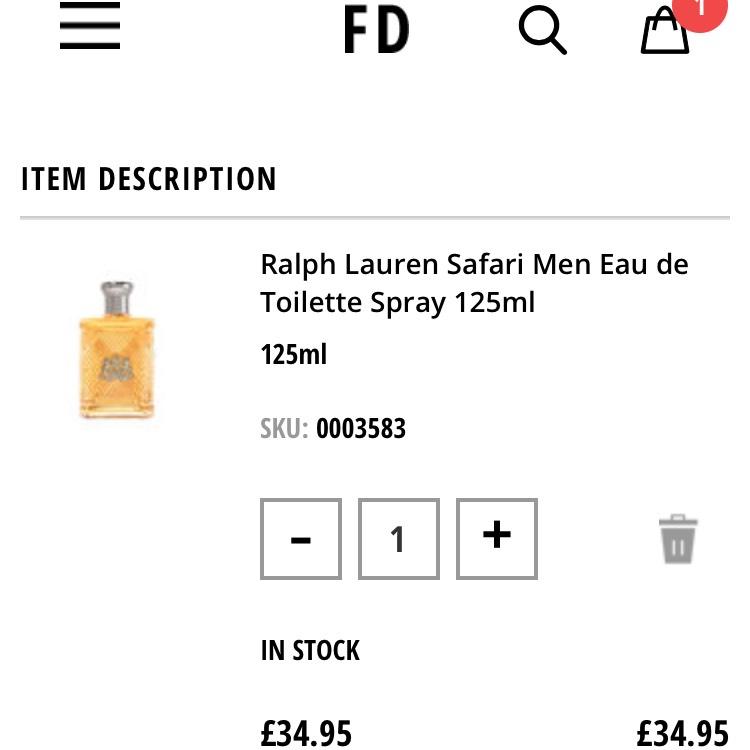 Ralph Lauren Safari Men's EDT 125ml £34.95 plus free express del @ Fragrance direct