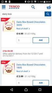 Dairy Box 360G £6 buy one get one free or 180G for £2 each @ Tesco