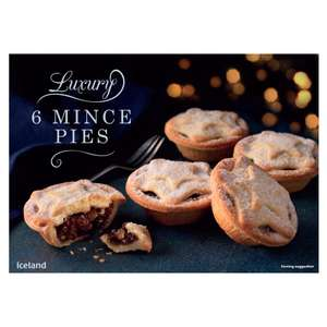 Iceland luxury mince pies 6 pack £1.25  down from £1.89  @ Iceland  instore on Wednesday 20th