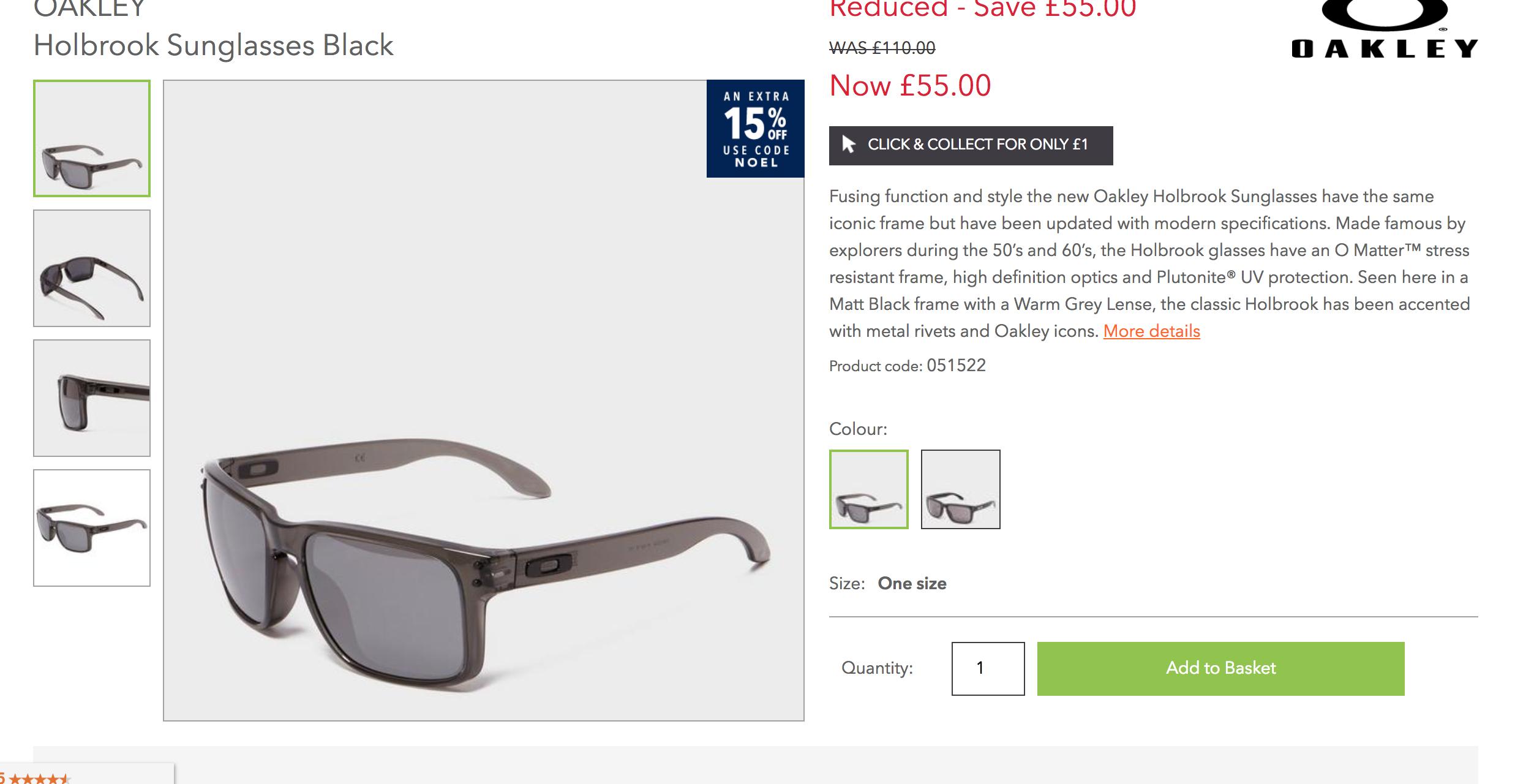OAKLEY Holbrook Sunglasses Black Possibly £46.75 @ Blacks