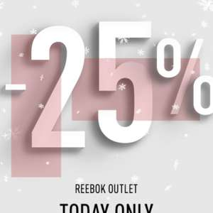 Reebok extra 25% off with free delivery valid for today only @ Reebok Outlet