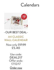 70% off personalised photo calendars @ Snapfish end Midnight + P&P (varies)