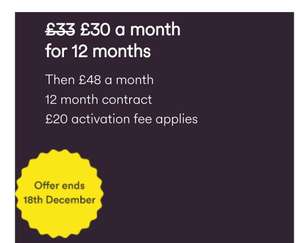 Virgin Broadband Offer - 100 fibre broadband + weekend calls + Player TV £30pm / 12mths £360 + £196 Line Rental + £20 Activation Fee (£248 after cashback + discount - see OP) - £348 total before cash back @ Virgin Media