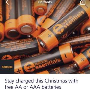 Free AA/AAA batteries @ Halfords (O2 Priority)