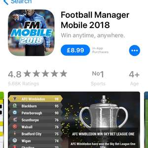 Football manager mobile 2018 - £8.99 @ iTunes and Google Play