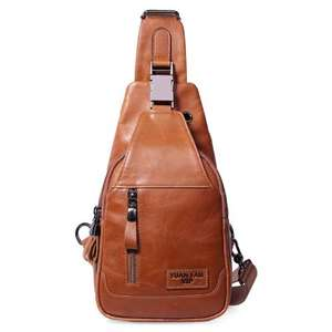 Mens Tan Genuine Leather Crossbody Shoulder Bag - £12.63 with discount code @ GearBest