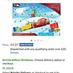 Cars 3 Advent Calendar - £4.97 Amazon add on
