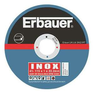 Inox 115mm grinder cutting discs. Erbauer brand 5 pack from screwfix.- £2.49