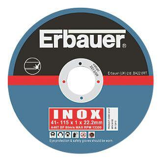 Inox 115mm grinder cutting discs. Erbauer brand 5 pack from screwfix.- £2.49