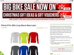 Free base layer when you buy a Planetx voucher for £20 or more