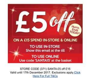 The works £5 off £15 spend plus up to 80% off