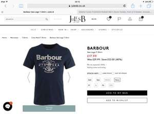 Barbour t-shirts reduced from £29.99 to £17.99 and now £13.50@ JulesB (free C&C)