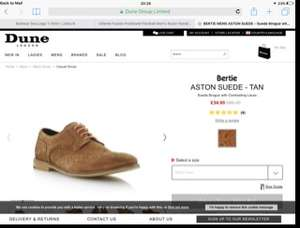 Dune sale. Suede brogues shown reduced from £85 to £34 / £37.50 delivered