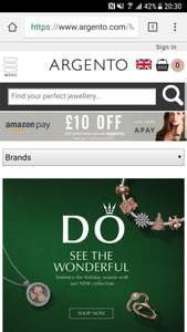 £10 off when you use Amazon pay (with code) @ Argento
