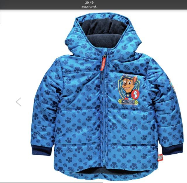 PAW Patrol Blue Puffer Coat - £12.99 @ Argos (C&C)