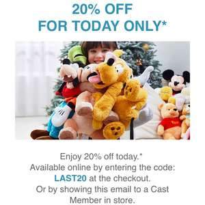 Disney store 20% off today only (18/12)