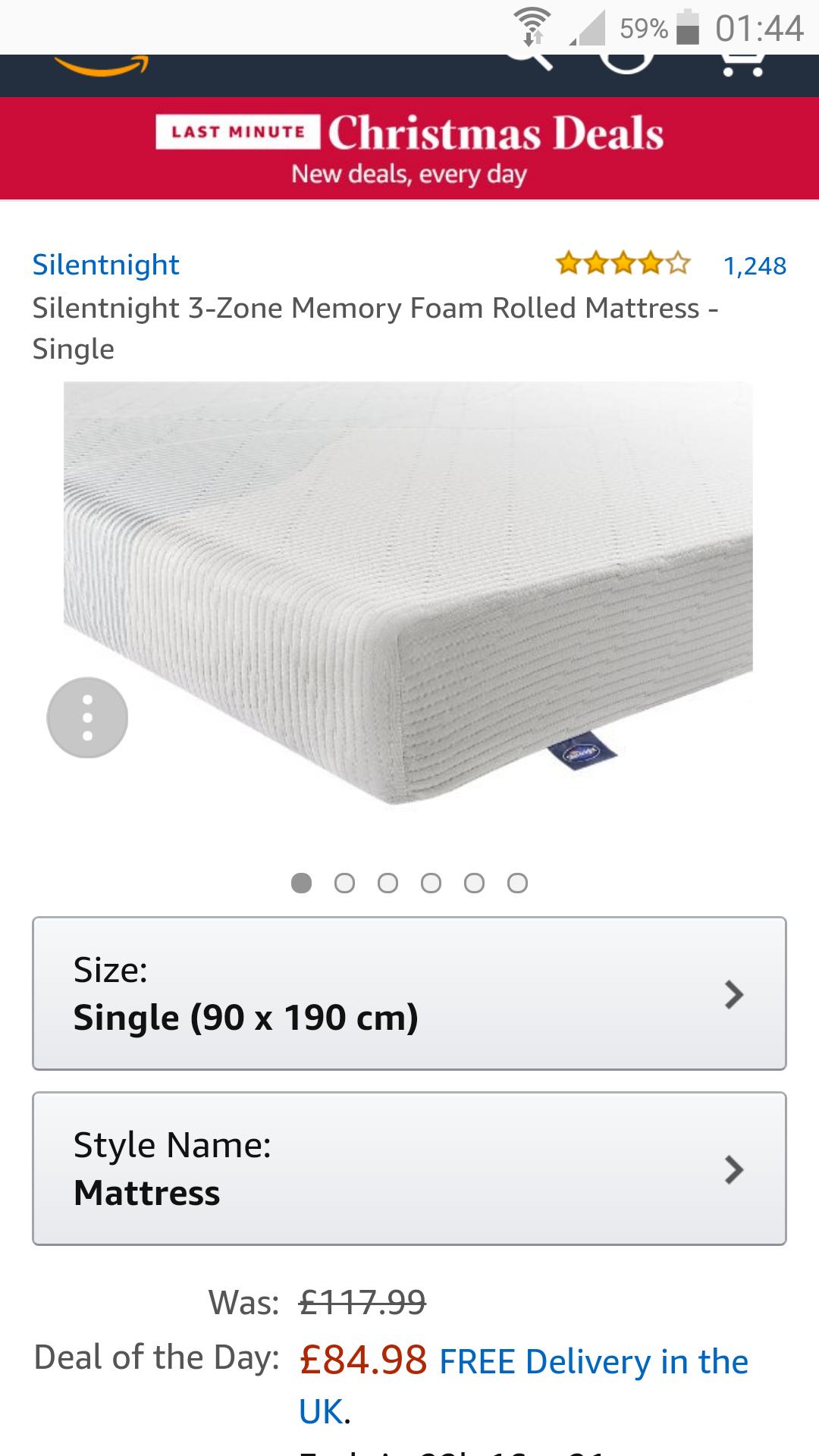silentnight zone 3 mattress 40%off amazon (DOTD) From £84.98