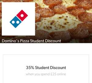 35% online student discount at Domino's Pizza when you spend £25 with Student Beans iD.