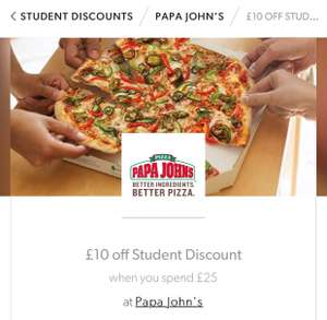 Students £10 off at Papa John's when you spend £25