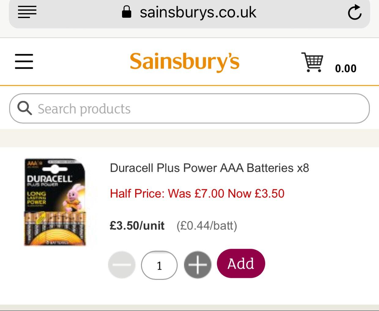 Duracell Plus Power AAA Batteries x8 - £3.50 @ Sainsbury's