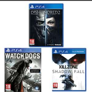 Killzone Shadow Fall, Watch Dogs, Dishonored 2 (pre-owned) - £13 @ GAME